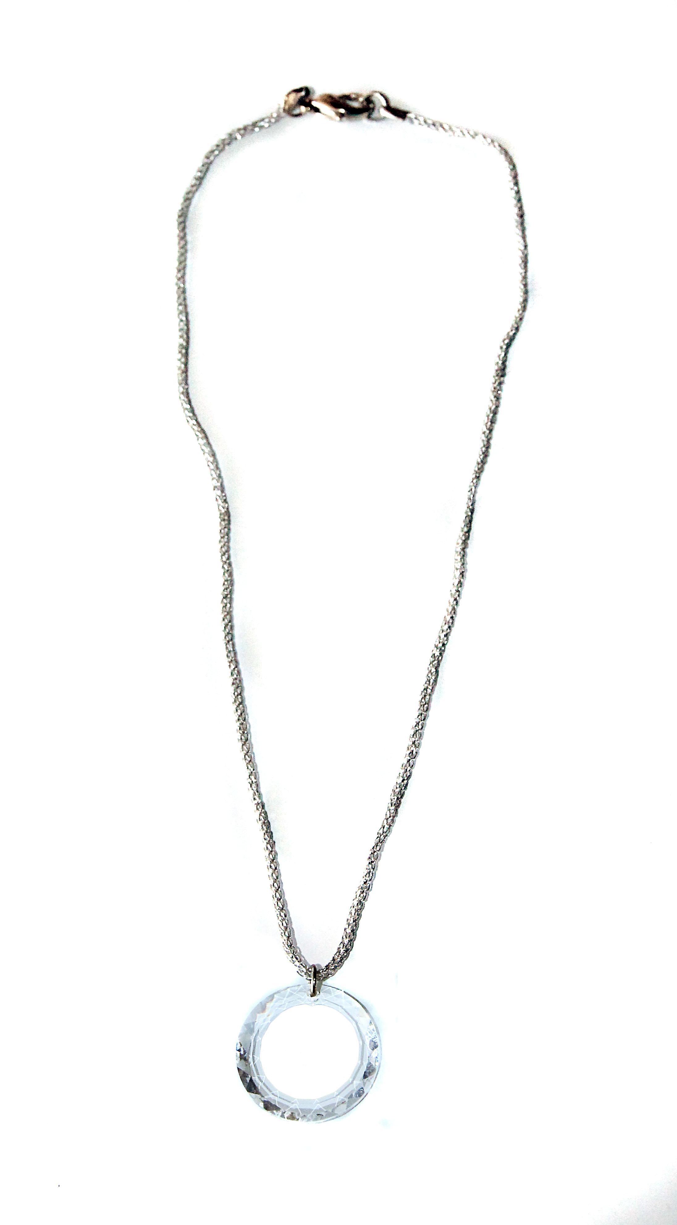 Waooh - Bijoux - Swarovski / Pendentif rond blanc et cordelette - Argenté