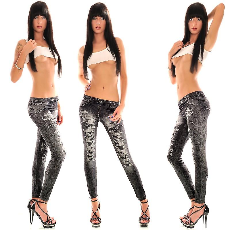 Waooh - Fashion - Long Leggings - Printed jeans torn and faded