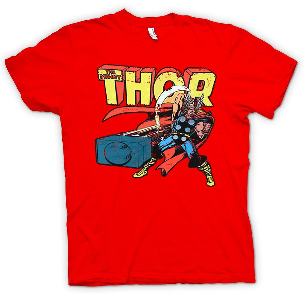 Mens T-shirt-der mächtige Thor In Aktion