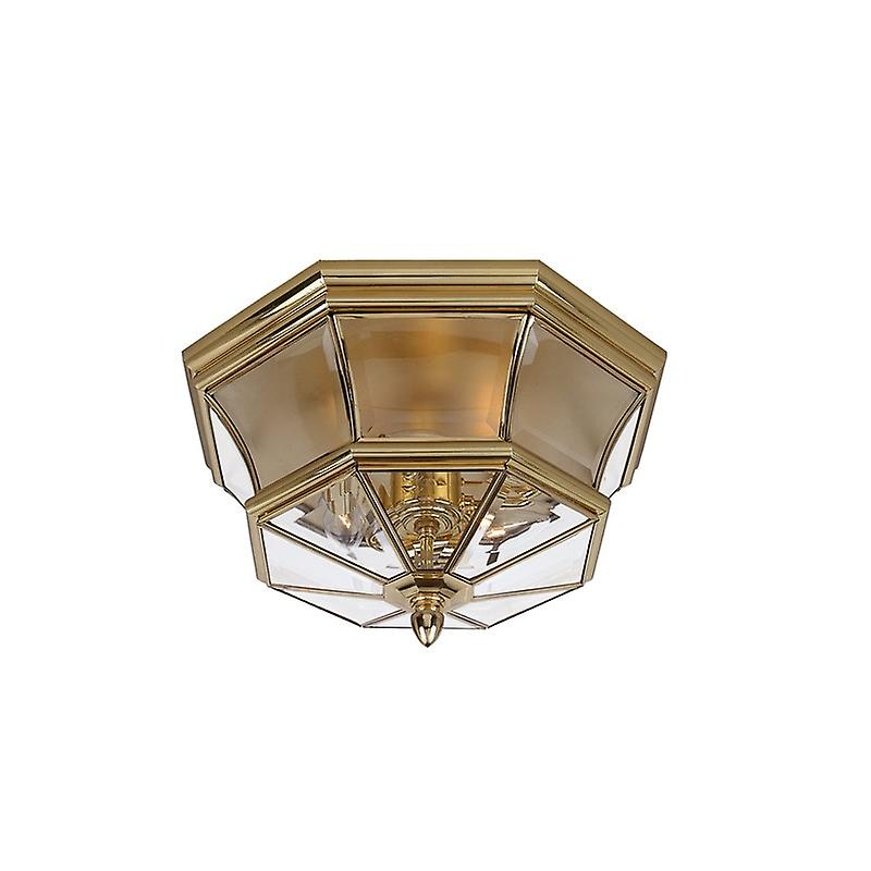 3 Light Flush Mount Outdoor Ceiling Light Polished Brass Ip44