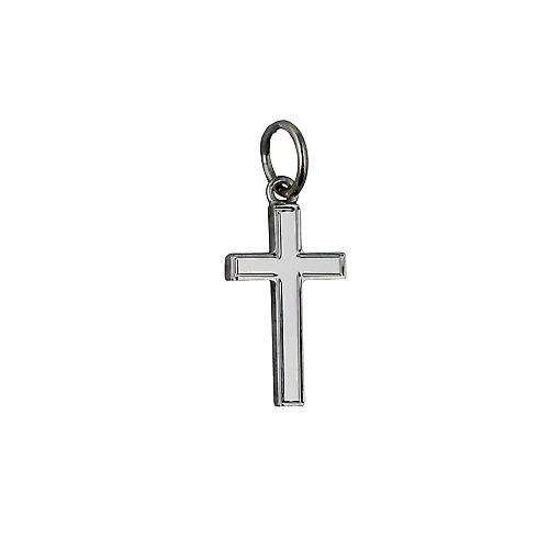 9ct White Gold 15x9mm engine turned lined border solid block Cross