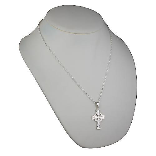Silver 35x24mm hand ingraverat Keltiskt kors med borgen på en kabel kedja 22 inches