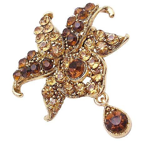 Smoked Topaz Crystals Teardop Dangling Exclusive Artistic Style Brooch