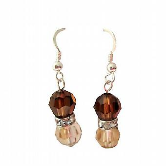 Golden Shadow Swarovski Round Crystals Smoked Topaz Crystals Earrings