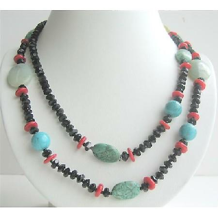 Beaded Long Necklace 40 Inches Coral Onyx Turquoise & Multi Beads