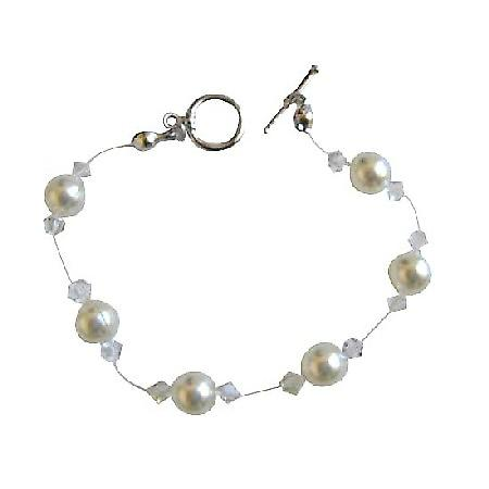 Swarovski Clear Crystals & White Pearls Wire Bracelet w/ Toggle Clasp