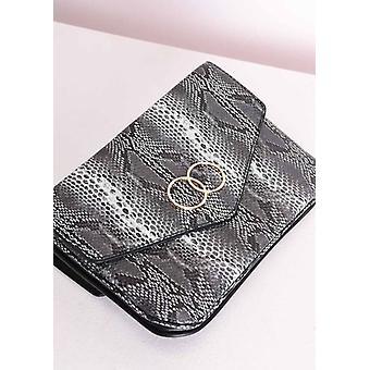 Faux Schlangenhaut Kreis Umschlag Clutch Bag Grey