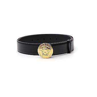 Cinturón de cuero negro de Versace