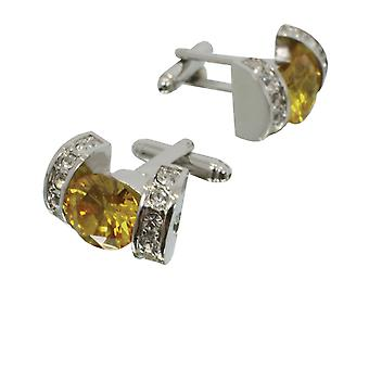 Dobell Mens Gold and Crystal Cufflinks