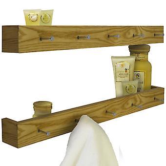 Ellis - 2 Pack -  Wall Mounted 80cm Floating Shelf With 5 Hooks  - Oak