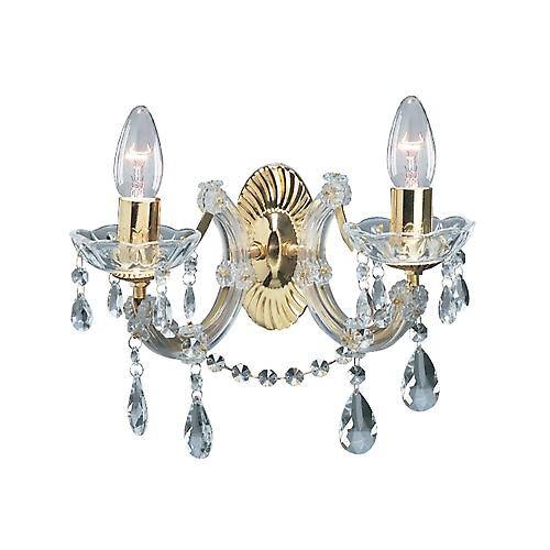 Searchlight 699-2 Marie Therese 2 Light Polished Brass Wall Light With Crystal