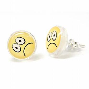 Toc Sterling Silver 10mm Sad Face Emoticon Stud Earrings