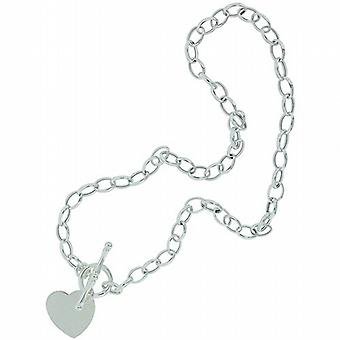 Toc Sterling Silver 14-16g Heart Charm 17 Inch Necklace With T-Bar