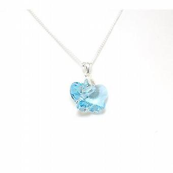 The Olivia Collection Small Blue Crystal Butterfly Pendant on Silver Chain
