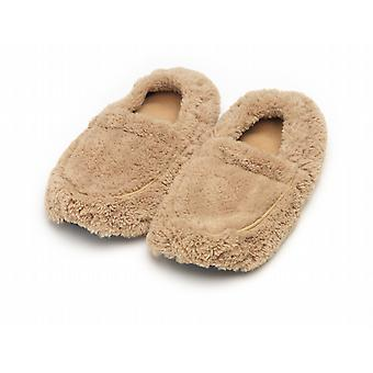 Unisex Cozy Body Microwavable Furry Slippers: Beige