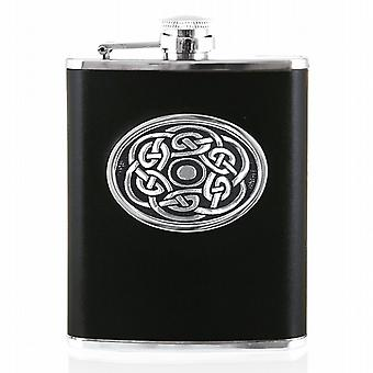 6oz CELTIC LEATHER FLASK - CEL956