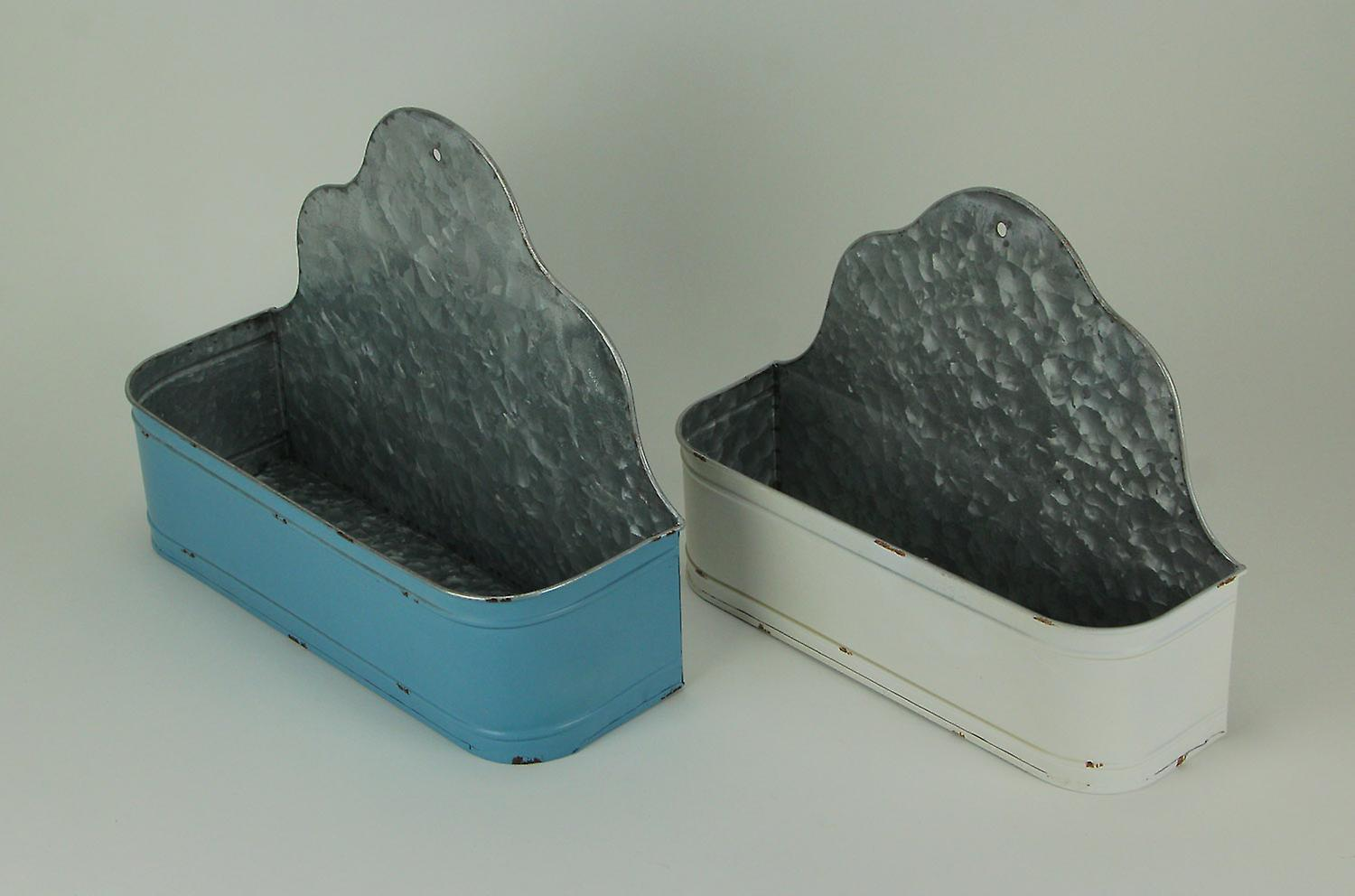 Blue and White Galvanized Metal Curved Edge Wall Basket Set