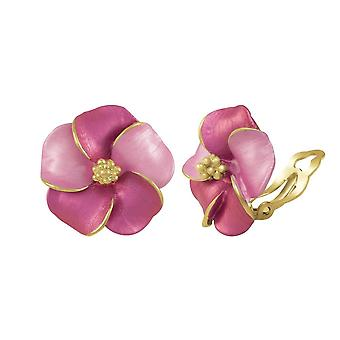 Eternal Collection Pansy Fuchsia Enamel Gold Tone Stud Clip On Earrings