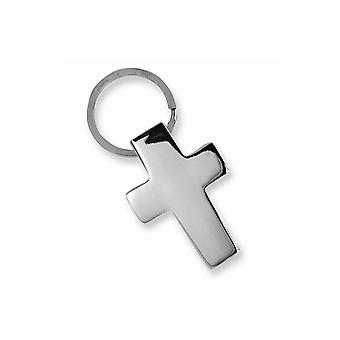 Polished Nickel-plated Cross Key Ring - Engravable Religious Gift