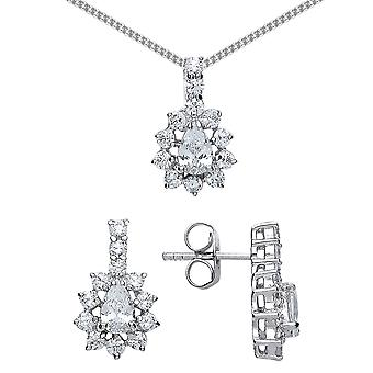 Jewelco London Rhodium Plated Silver Pear and Round Brilliant Cubic Zirconia Cluster Drop Earrings Necklace Set 18 inch