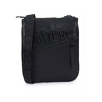 Versace Faux Leather Printed Logo Black Pouch