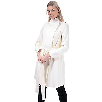 Womens French Connection Platform Felt Belted Coat In Classic Cream