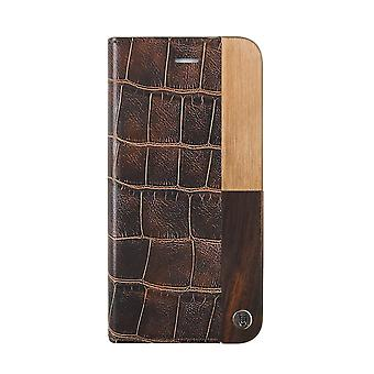 Luxury iPhone 8/7 Case Folio Hard Shell Dark Brown