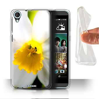 STUFF4 Gel/TPU Case/Cover for HTC Desire 820s Dual/White Flower/Floral Garden Flowers