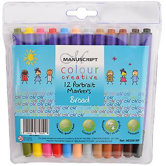 Manuscript Color Creative Broad Tip Felt Markers 12 Pkg Portrait Me3581bp
