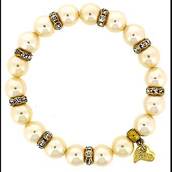 Kleshna Classic Ivory Pearl & Crystal Stretch Bracelet