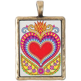 Thaneeya(R) LLC Acrylic Rectangle Pendant 1/Pkg-Heart TM-RECT-070