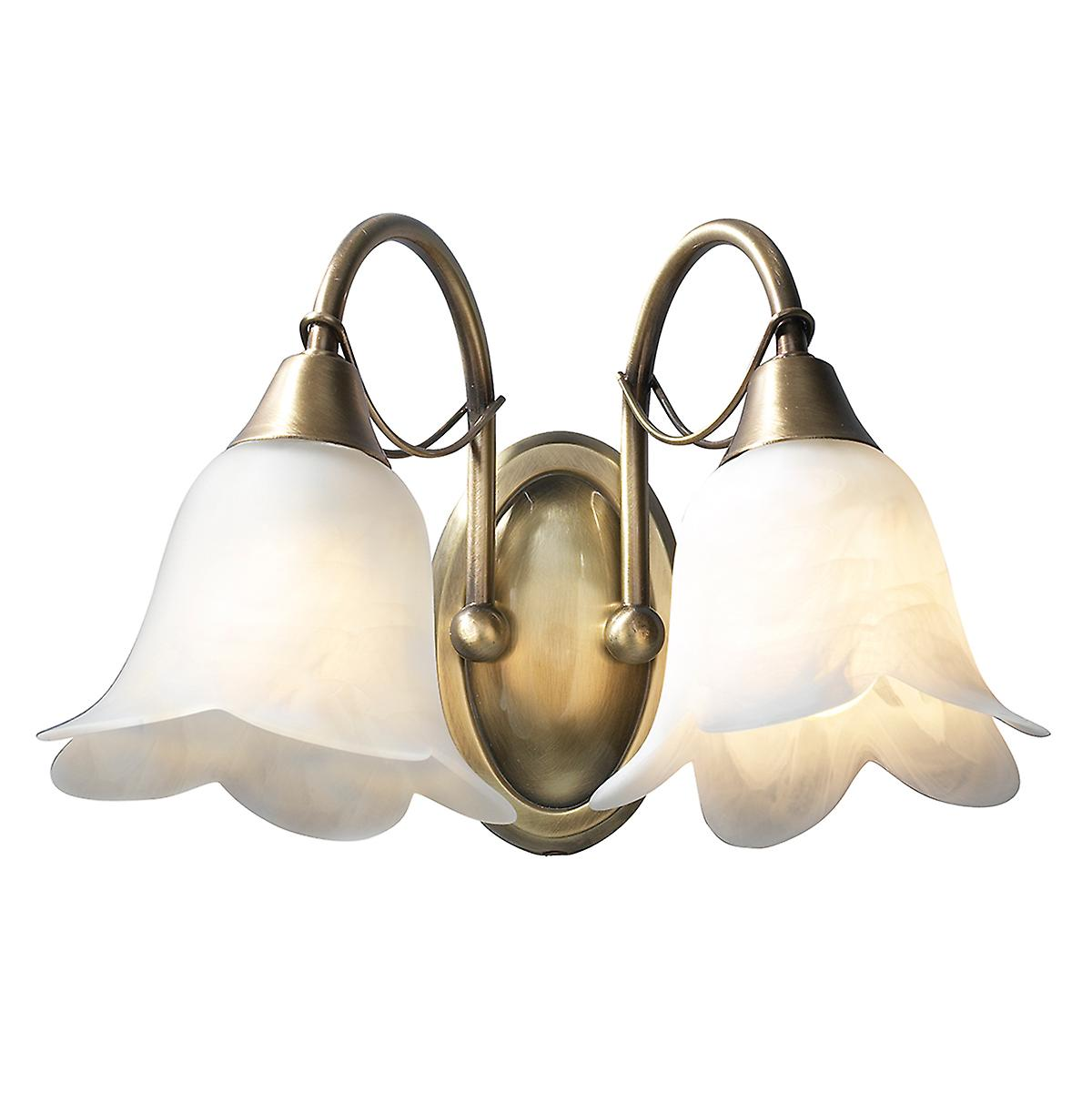 Dar DOU0975 Doublet Traditional Switched Double Wall Light With Alabaster Glass
