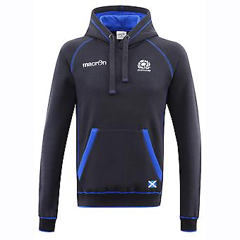 2016-2017 Scotland Macron Rugby Heavy Cotton Hooded Top (Navy)