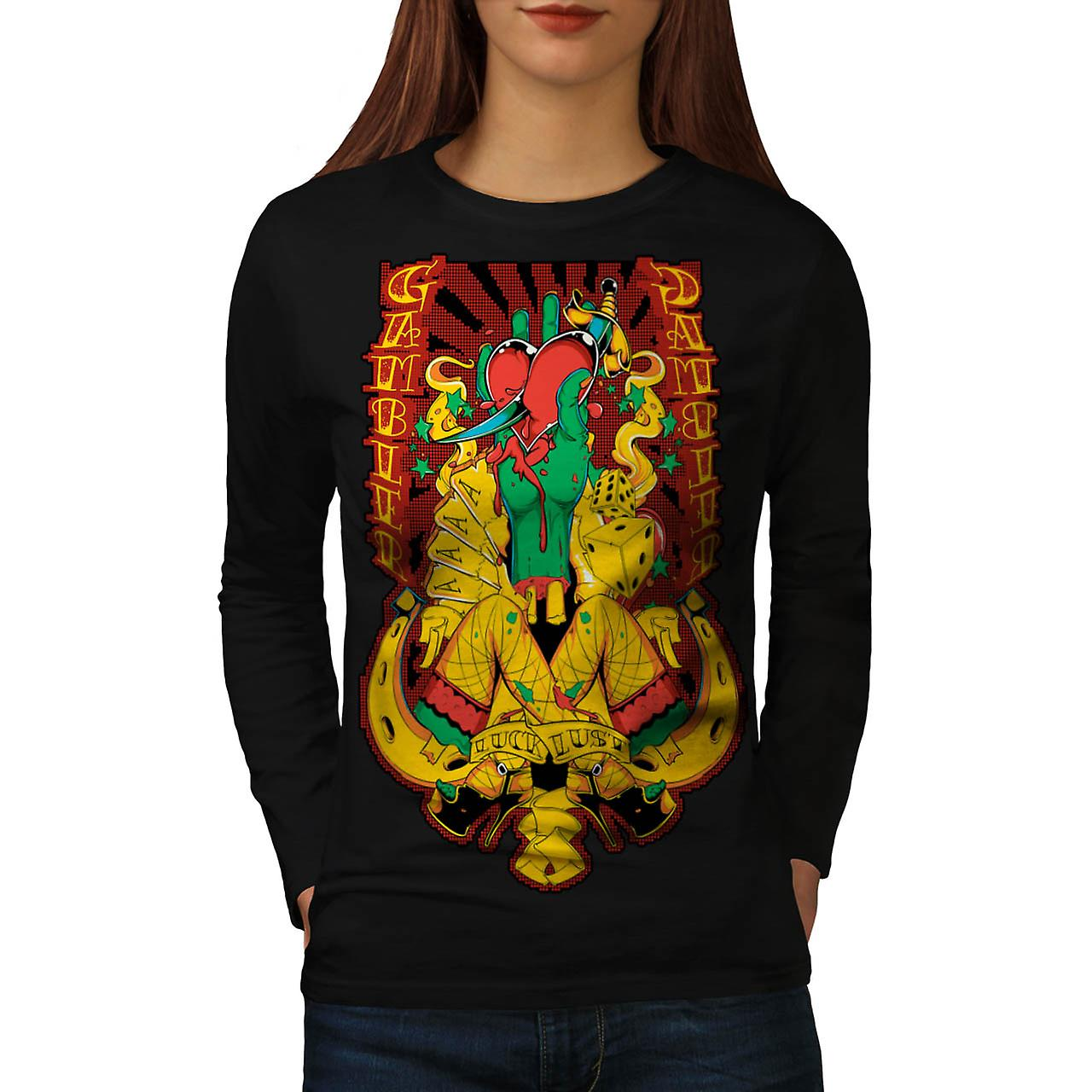 Gambler Luck Lust Sin Aces Card Women Black Long Sleeve T-shirt | Wellcoda