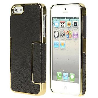 PC plastic cover and skin PU for iPhone 5/5S (black/gold)
