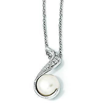Sterling Silver CZ White Freshwater Cultured Pearl Swirl Necklace - 18 Inch
