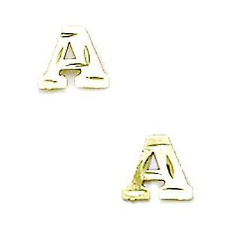 14k Yellow Gold Initial a Stamping Children Earrings - Measures 6x7mm