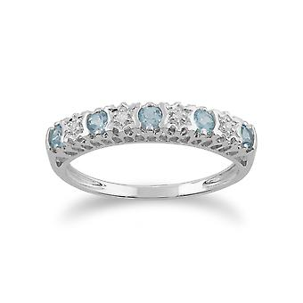 Gemondo 9ct witgoud 0,30 ct Blue Topaz & Diamond halve eeuwigheid Ring