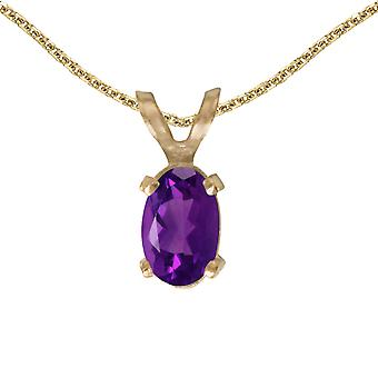 14k Yellow Gold Oval Amethyst Pendant with 18