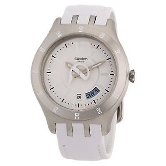 swatch Men's YTS401 Quartz Date White Dial Crystal Watch