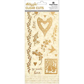 Paper House Sticky Pix Clear Cuts Stickers 5/Pkg-Gold Foil Wedding STCL0006