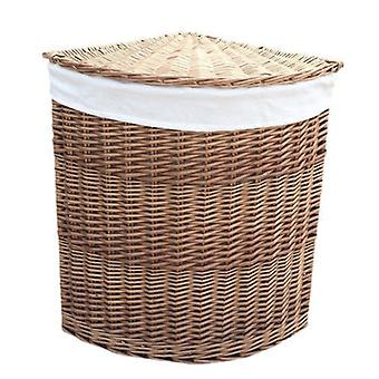 Large Light Steamed Corner Laundry Baskets with White Lining