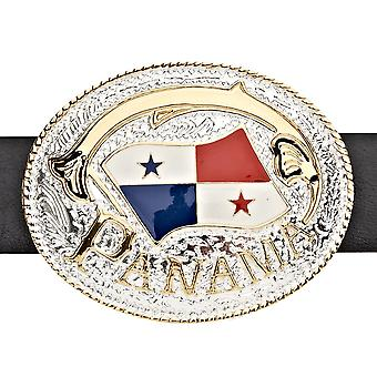 Iced out bling belt - PANAMA FLAG gold / silver