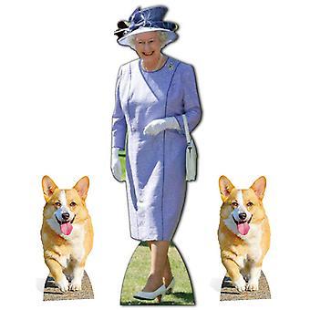 Queen Elizabeth II Lilac Dress with 2 Royal Corgis Cardboard Cutout Set