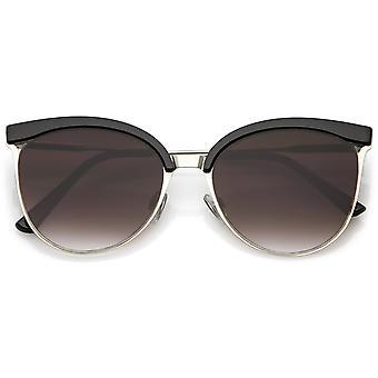 Modern Semi Rimless Cat Eye Sunglasses Cutout Slim Arms Flat Lens 55mm