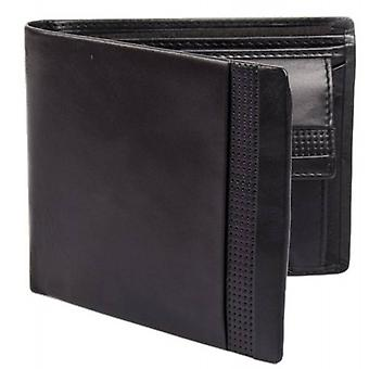 Dents Smooth Punched Leather Bifold and Coin Wallet - Black