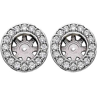 G/SI 3/4ct Halo Diamond Studs Earring Jackets White Gold Fits 1ct (6-6.5mm)