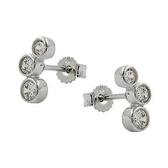 White gold jewelry earrings white gold 375, with cubic zirconia, 9 KT white gold