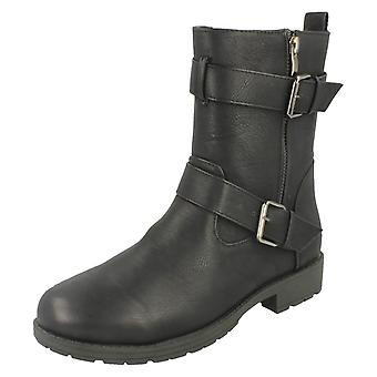 Ladies Spot On Buckle Ankle Strap Boots