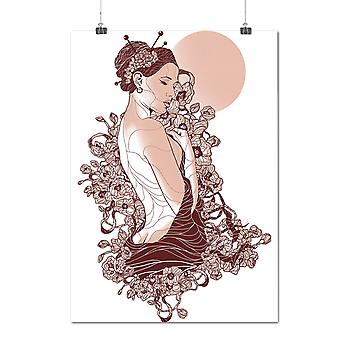 Matte or Glossy Poster with Nude Geisha Girl Fantasy | Wellcoda | *d1984